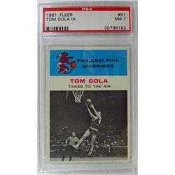 1961 Fleer Basketball #51 Tom Gola in action PSA NM7
