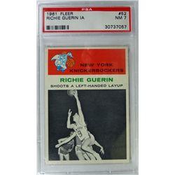 1961 Fleer Basketball #52 Richie Guerin in action PSA NM7