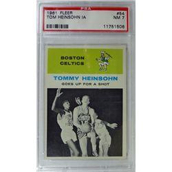 1961 Fleer Basketball #54 Tom Heinsohn in action PSA NM7