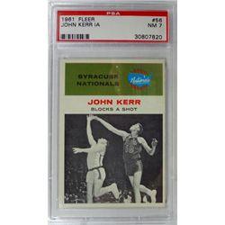 1961 Fleer Basketball #56 John Kerr in action PSA NM7