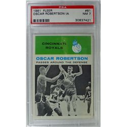 1961 Fleer Basketball #61 Oscar Robertson in action PSA NM7