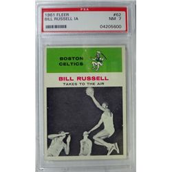 1961 Fleer Basketball #62 Bill Russell in action PSA NM7