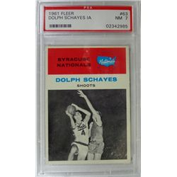 1961 Fleer Basketball #63 Dolph Schayes in action PSA NM7