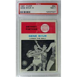 1961 Fleer Basketball #64 Gene Shue in action PSA NM7