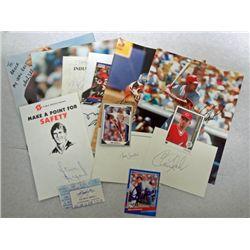 Lot of misc Autographs:  Chris Sabo, Dave Justice, Steve Alford, Barry Larkin,