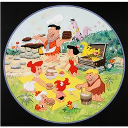 1969 The Flintstones Round Puzzle Original Artwork