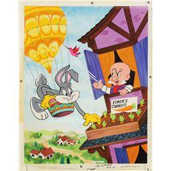 1972 Bugs Bunny & Elmer Fudd Jigsaw Puzzle Original Artwork