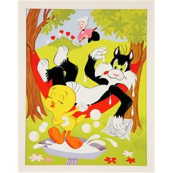 1976 Tweety and Sylvester jigsaw puzzle original artwork