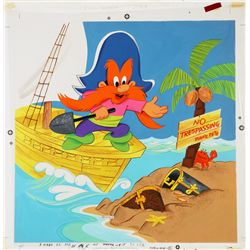 1982 Yosemite Sam Round Jigsaw Puzzle Original Artwork