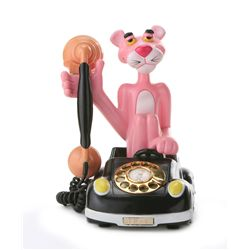 Vintage 1980 Pink Panther Rotary Telephone