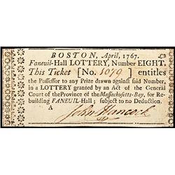 JOHN HANCOCK, Signed 1767 Faneuil-Hall Boston LOTTERY TICKET
