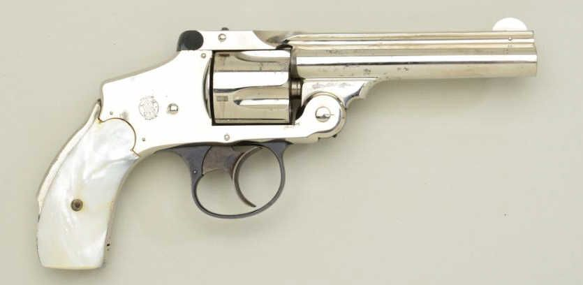 """Smith & Wesson """"New Departure"""" or lemon squeezer 38 cal DA revolver, nickel  plated, pearl grips in"""