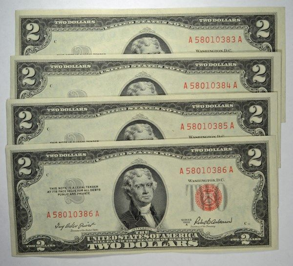 4 1953 $2 NOTES CONSECUTIVE SERIAL NUMBERS