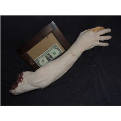 SEVERED BLOODY ARM WITH HAND AND GORE AT STUMP 8 URETHANE LATEX OR POLY FOAM