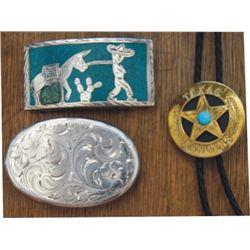 Silver belt buckle&Texas Ranger bolo