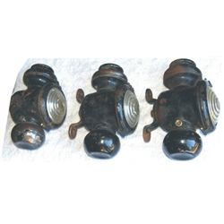 3 antique lamps for carriage or old car