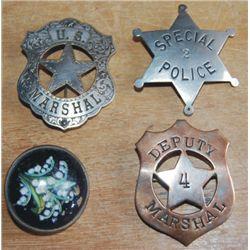 3 badges.  1 w/glass rosette