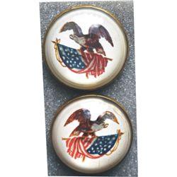 2 old glass eagle rosettes