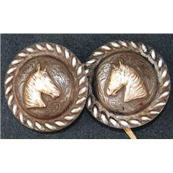 1 3/4  silver horsehead conchos