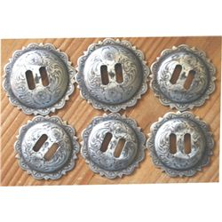 set of 6 slotted silver conchos