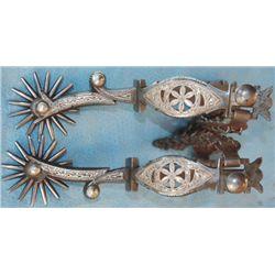 G S Garcia silver inlaid filigree spurs