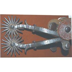 unmarked Phillips & Gutierres silver inlaid spurs