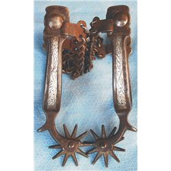 early silver inlaid Calif style spurs