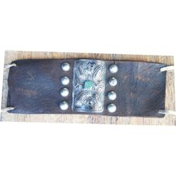 """leather arm bank with 3"""" silver and turquoise piece"""
