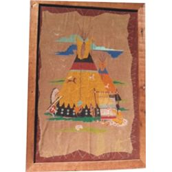 framed Indian painting on leather