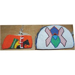 2 small beaded bags, one is warrior on horse