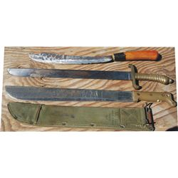 3 knives - 1945 US, one hand forged