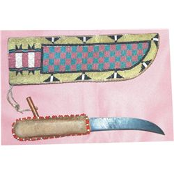 beaded knife scabbard and trade knife