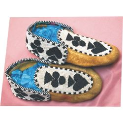 Cree card suit pattern beaded moccasins