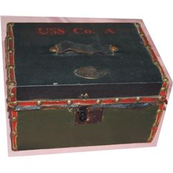 trunk marked USS Co A: US cavalry scouts; with name Red Boy on emblem