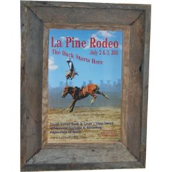 2 barnwood framed LaPine, Or rodeo posters