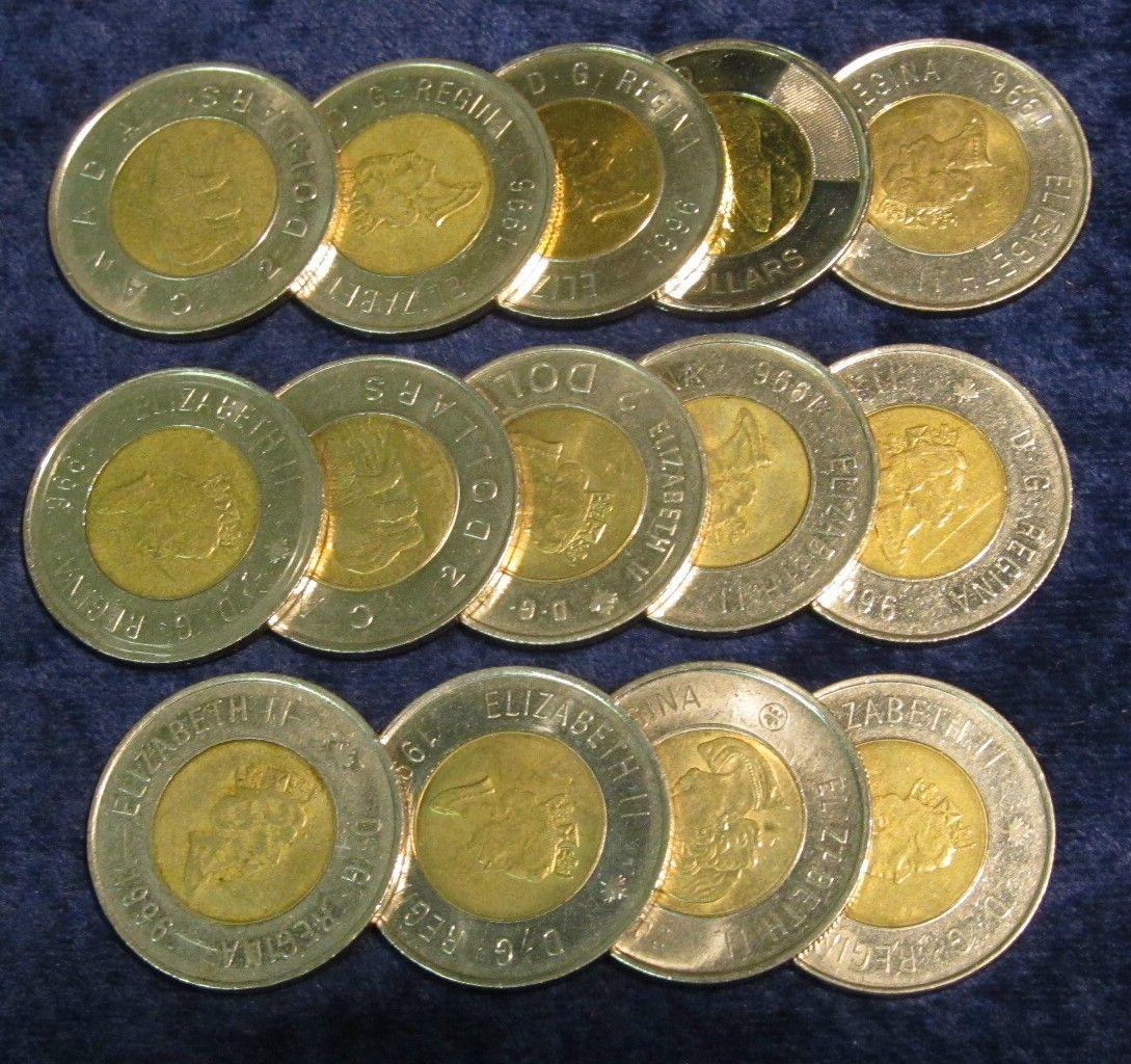 494  (14) Canada $2 Dollar Coins  $28 00 Canada Face value  Fun to collect  or good for cross border