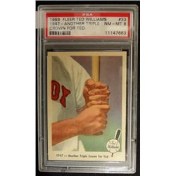 1959 FLEER TED WILLIAMS.  ANOTHER TRIPLE CROWN FOR TED.  PSA 8