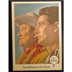 1959 FLEER TED WILLIAMS.  TED WILLIAMS & JIM THORPE.  NM