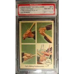 1959 FLEER TED WILLIAMS.  TED'S HITTING FUNDAMENTALS #1.  PSA 8