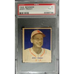 1949 BOWMAN #4    JERRY PRIDDY   NAME ON FRONT   PSA   NM 7