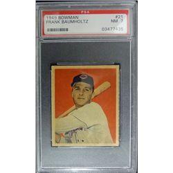 1949 BOWMAN #21  FRANK BAUMHOLTZ  PSA  NM7  ROOKIE