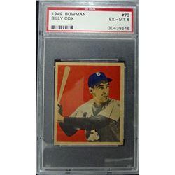 1949 BOWMAN #73  BILLY COX  PSA EX-MT6  ROOKIE