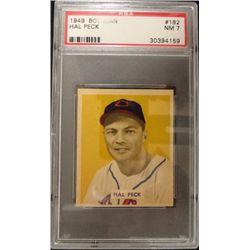 1949 BOWMAN #182  HAL PECK  PSA  NM 7  ROOKIE