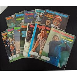 12-GOLF SPORTS ILLUSTRATED from 1970's, JACK NICKLAUS, NANCY LOPEZ &other GREATS