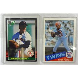 1985 TOPPS KIRBY PUCKETT ROOKIE & 1995 LEAF ROGER CLEMENS ROOKIE