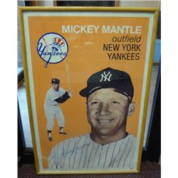 MICKEY MANTLE AUTOGRAPHED GEOGRAPHICS POSTER