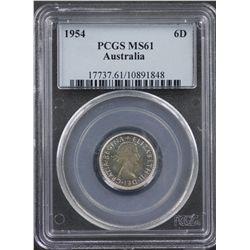 1954 Sixpence PCGS MS61