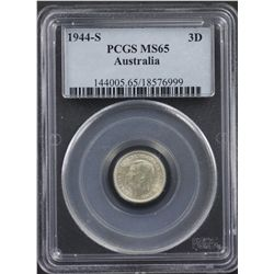 1944S Threepence PCGS MS65