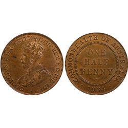 1934 Half Penny PCGS MS63 BN