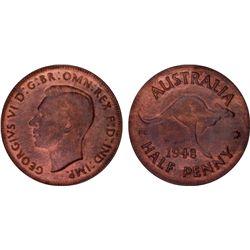 1948 Half Penny PCGS MS63 RB